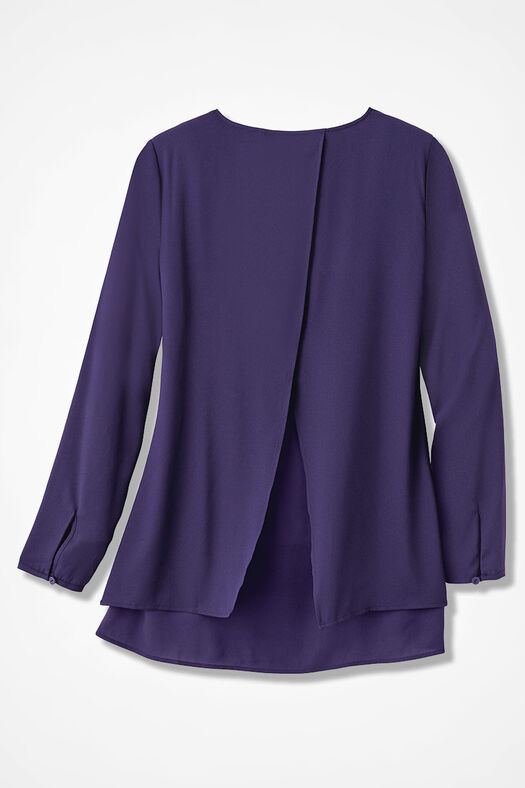 Pleat-Front Tunic, Deep Violet, large