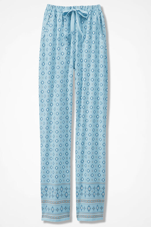 Border Print Flannel PJ Pants, Porcelain Blue, large
