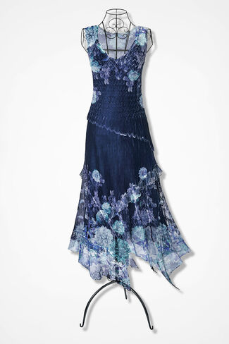 Night Sky Floral Dress by Komarov, Navy Multi, large