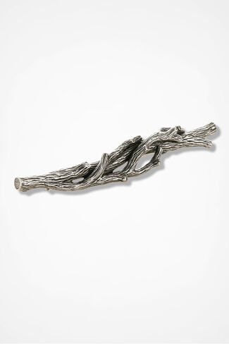 Fallen Twig Sweater Pin, Silver, large