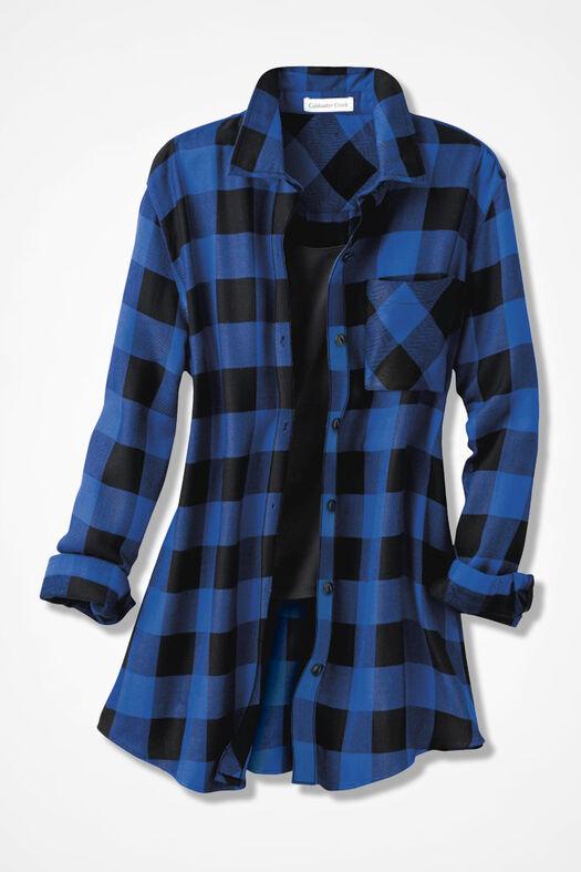 Wyoming Ramble Check Tunic, Black/Sapphire, large
