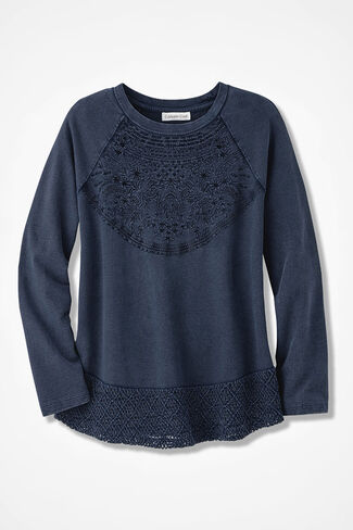 Indigo Embroidered Sweatshirt, Washed Indigo, large