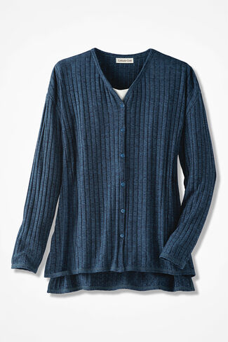 Wide-Ribbed Cardigan, Mallard Blue, large