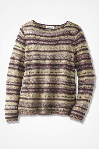 Potpourri of Stitches Sweater, Blackberry, large