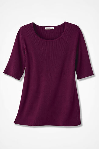 Elbow-Sleeve Ribbed Sweater, Wine, large
