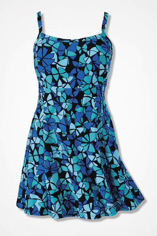 Butterfly Print ShapeMe™ Swimdress, Blue Multi, large