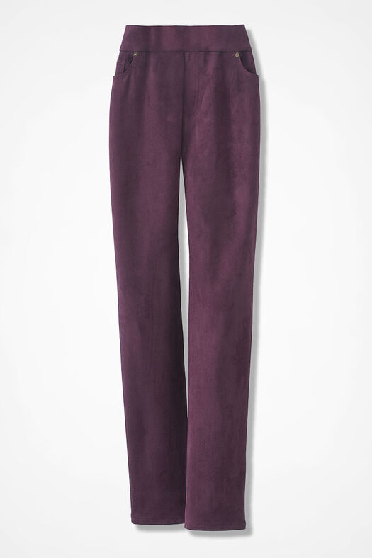 Faux Suede Pull-On Pants, Blackberry, large
