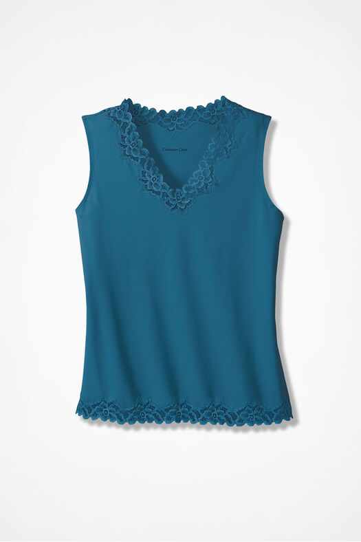 Double Lace Tank, Mallard Blue, large