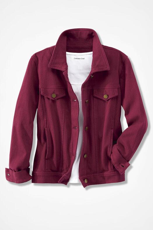 Knit Denim Jacket, Garnet, large