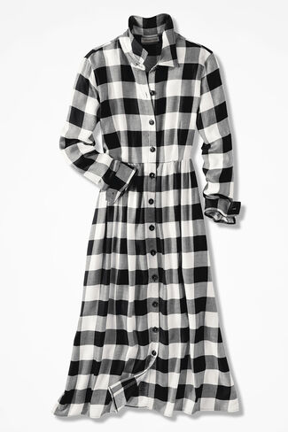 Buffalo Check Shirtdress, Black/Ivory, large