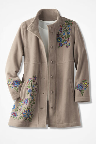 Embroidered A-Line Fleece Coat, Oatmeal, large
