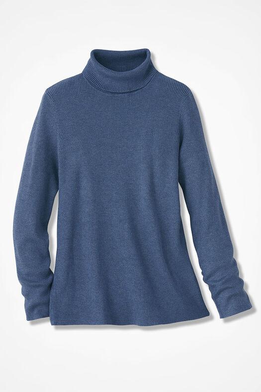 Ribbed Turtleneck Sweater, Blue Heather, large
