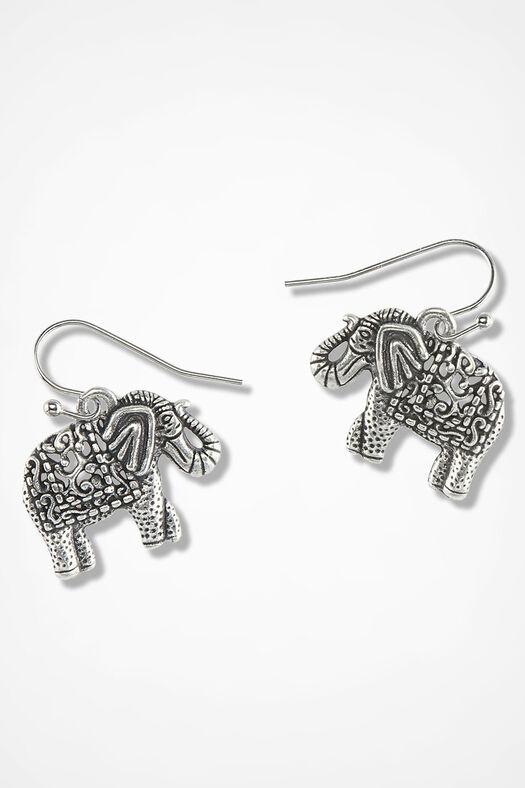 Unforgettable Elephant Earrings, Silver, large