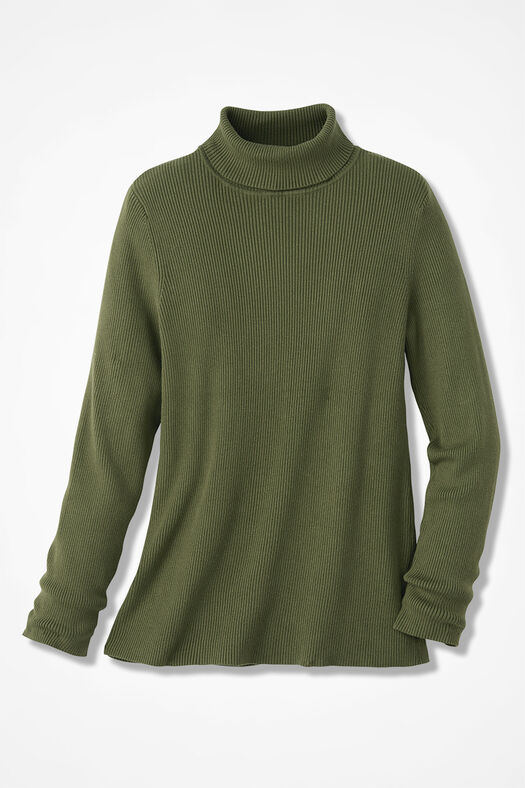 Ribbed Turtleneck Sweater, Cypress, large