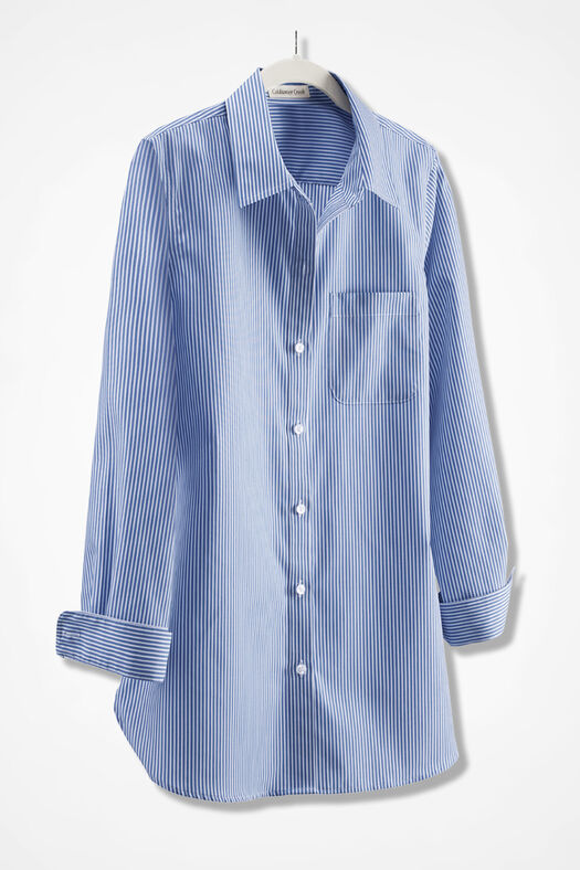 Anytime Striped  Easy Care Tunic, French Blue, large