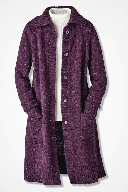 Winter Mix Duster, Mulberry, large