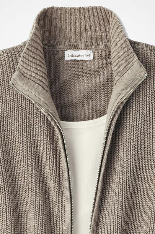 Shaker Zip-Front Cardigan, Mocha, large