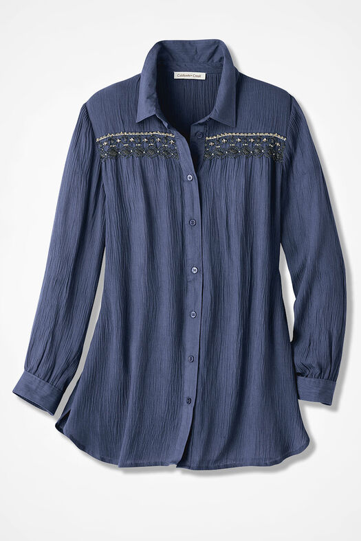 Beaded Crinkle Tunic, Ranch Blue, large
