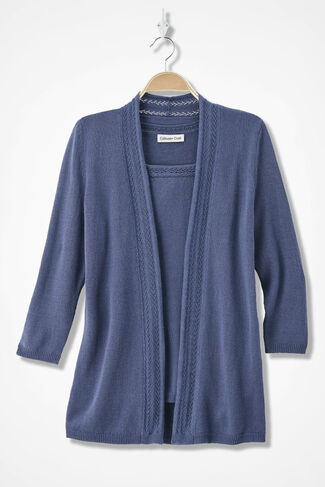 Pointelle Border Cardigan, Ranch Blue, large