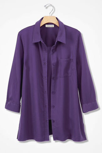 Tencel® Twill Big Shirt, Aubergine, large