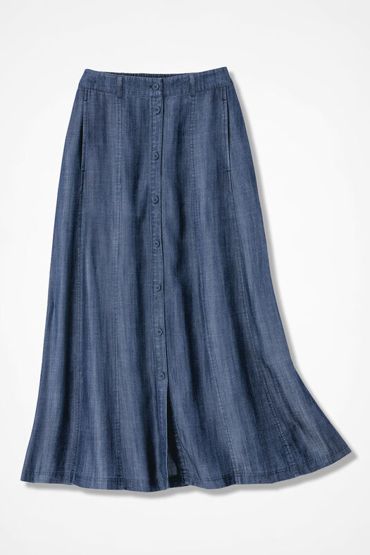 Button-Front Tencel® Maxi Skirt, Medium Wash, large