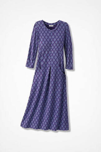 Tile Print Anytime Crewneck Dress, Aubergine, large