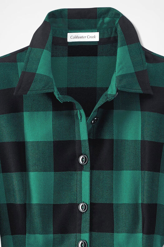 Buffalo Check Shirtdress, Emerald, large