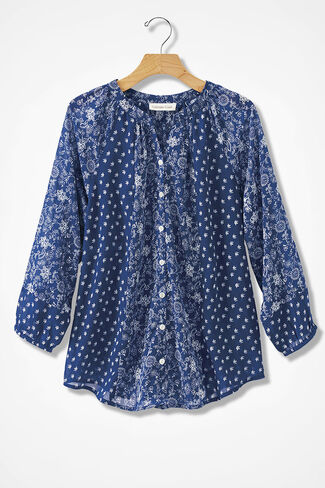 Complements Twin Print Blouse, India Ink Multi, large