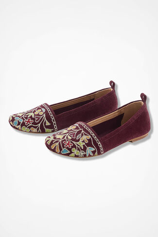 """Bliss"" Suede Flats by Latigo®, Wine, large"