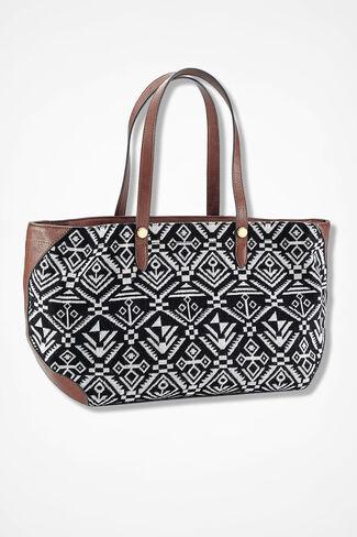 Heritage Tapestry Bag, Black/White, large
