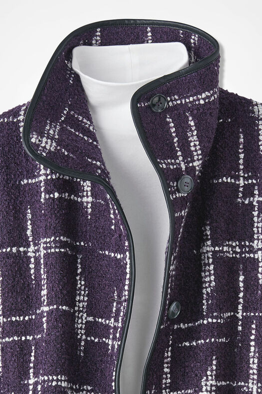 Smart Lines Bouclé Coat, Purple, large