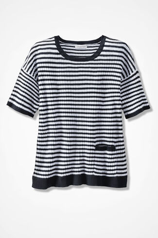 Fair Harbor Striped Sweater, Black/White, large