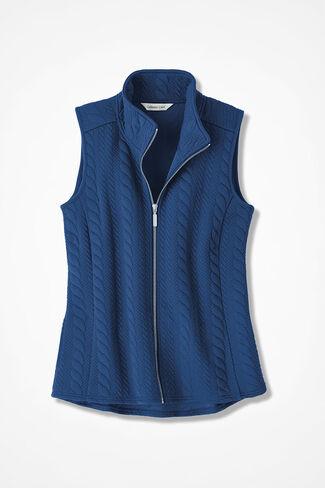 Curved-Hem Cabled Vest, Lapis, large
