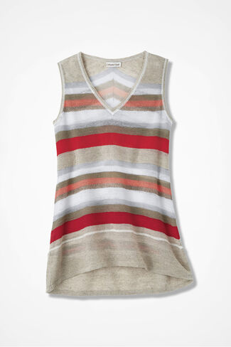 Canyon Stripe Sleeveless Sweater, Multi, large