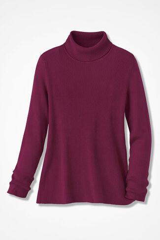 Ribbed Turtleneck Sweater, Garnet, large