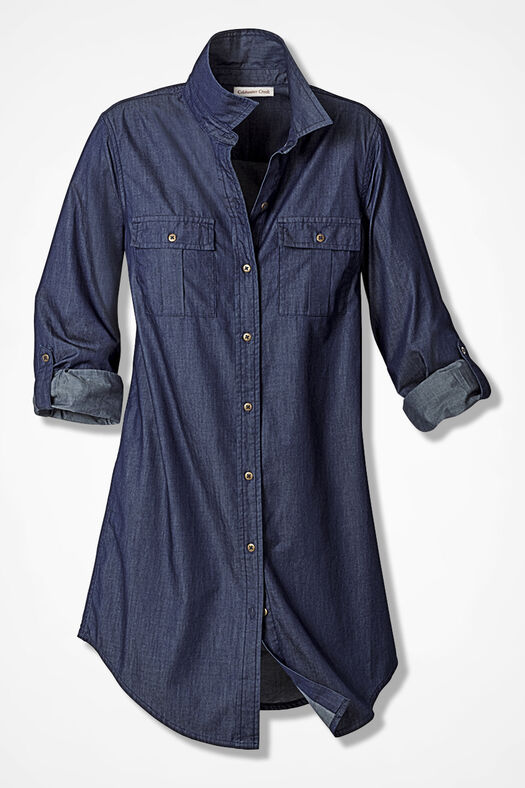 Fluid Denim Tunic, Dark Blue Wash, large