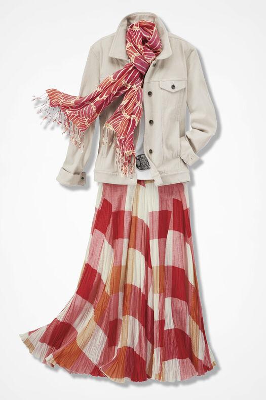 Knit Denim Jacket, Stone, large