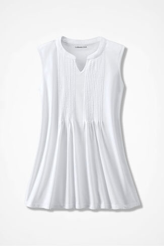 Pintuck Sleeveless Knit Tunic, White, large