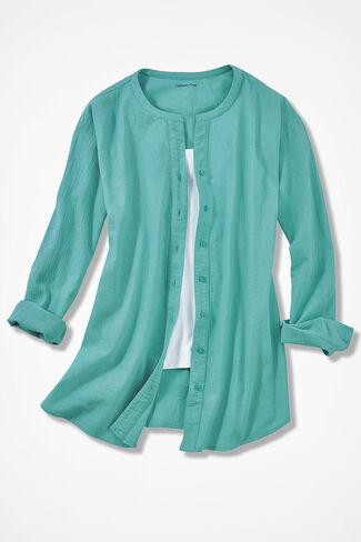 Crinkle Cotton Big Shirt, Bright Aqua, large