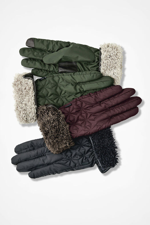 Fleeced-Lined Quilted Gloves, Black, large