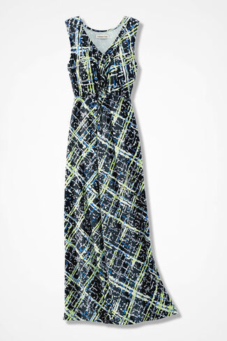 Intersections Knot-Front Maxi Dress, Black Multi, large