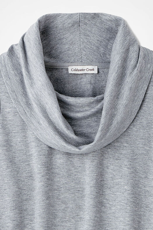 Superbly Soft Fleece Cowlneck, Light Heather Grey, large