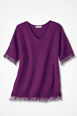 Fringe Delight Sweater, Currant, large