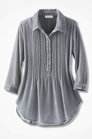 Pintuck Velvet Tunic, Pewter, large