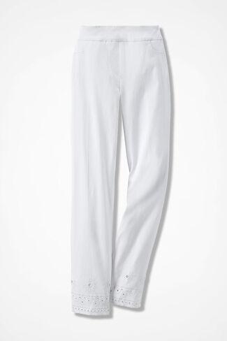Day-to-Dinner Eyelet-Hem Ankle Pants, White, large