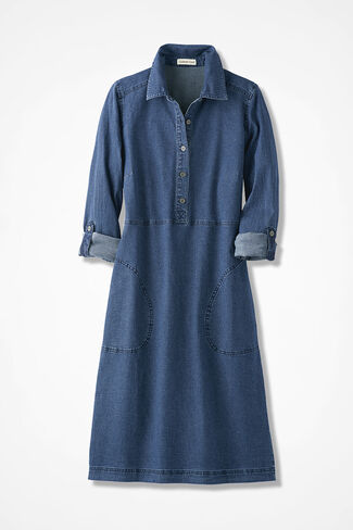 Roll-Sleeve Denim Dress, Medium Blue Wash, large
