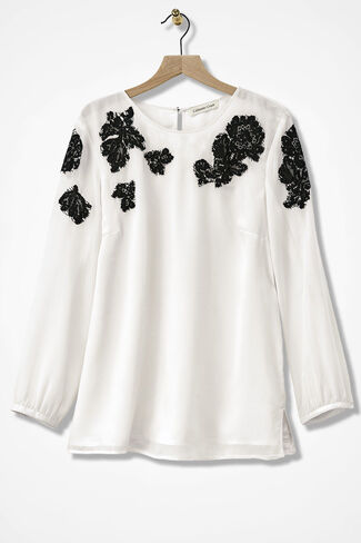 Lace Allure Appliqué Blouse, Ivory, large