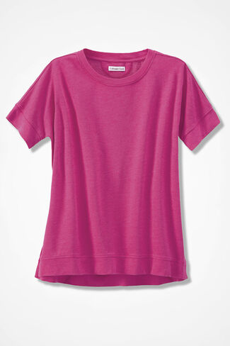 French Terry Pullover, Bright Pink, large