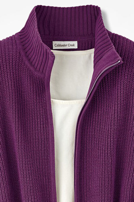 Shaker Zip-Front Cardigan, Mulberry, large