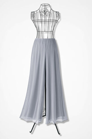 Chiffon Pants by Alex Evenings, Silver, large